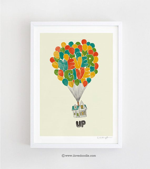 Never give UP  art print van ilovedoodle op Etsy, $30.00