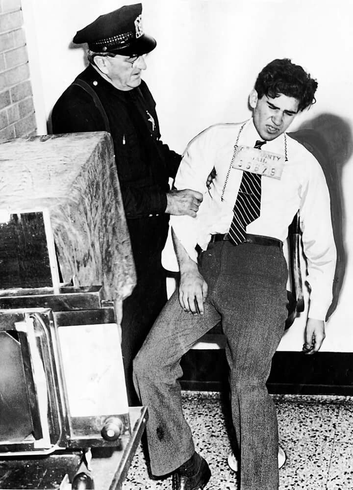 "Did you know?  While being photographed by an identification worker at Cook County jail in 1946, the ""Lipstick Killer"" William Heirens collapsed. After the incident, Heirens spent 10 days in hospital"