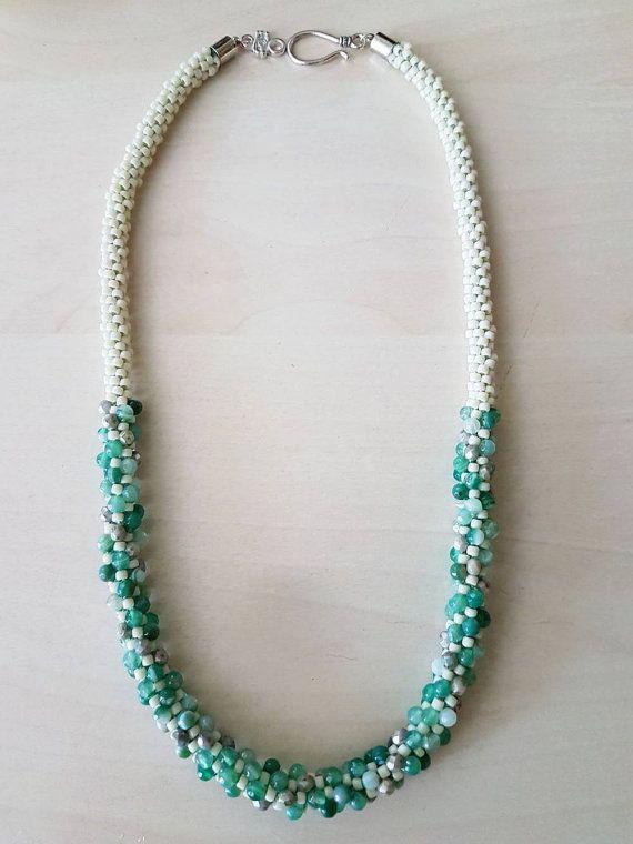Green agates and czech fire polished beads kumihimo beaded neclacke
