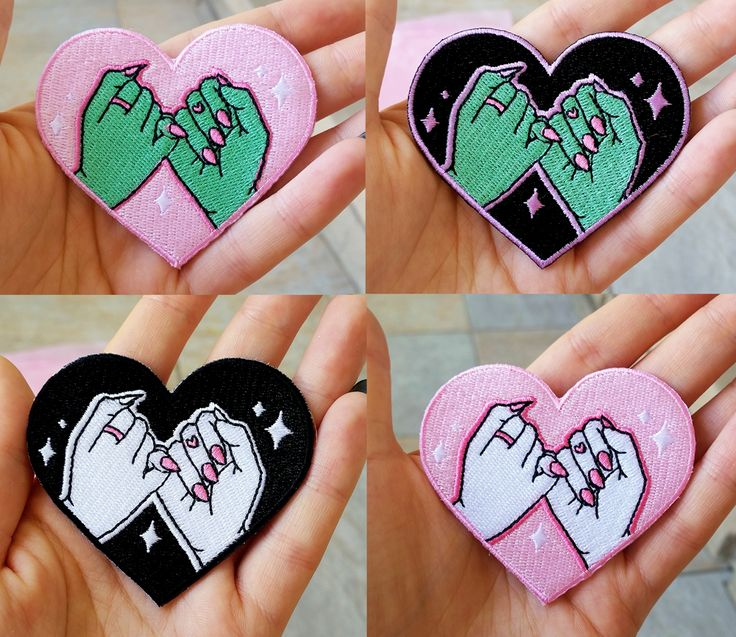 never+break+a+promise+with+these+super+cute+pinky+swear+heart+patches,+beautifully+crafted+from+an+original+design!+  featuring+an+extra+special+alien+color+way+for+all+the+intergalactic+bfflz+out+there!  ♥+2.7+x+2.5+inches+ ♥+Iron+on+-+Super+easy+to+apply,+but+some+sewing+is+recommended+if+...
