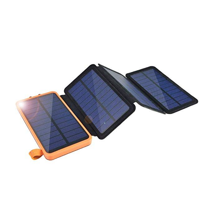 Solar Charger 12000mah Eremoki Outdoor Portable Power Bank With 4 Solar Panels Fast Charge External Battery Pack With Dual 2 1a Output Usb Compatible With Smart With Images Portable Power Bank Solar Charger External