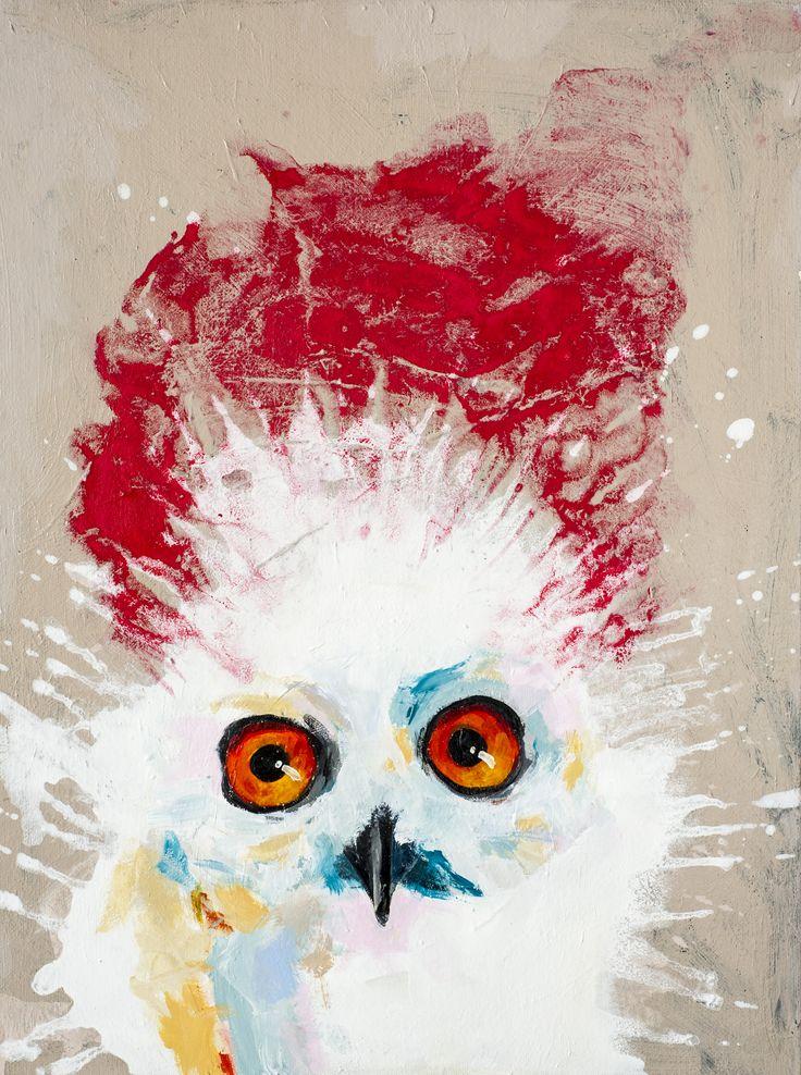 'Smadret sneugle'. Akryl og pigment på lærred. 60 x 80 cm.