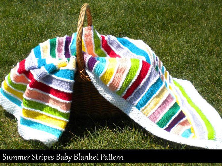 Summer Stripes Baby Blanket Knitting Pattern...good for using up left over yarn, easy knit.