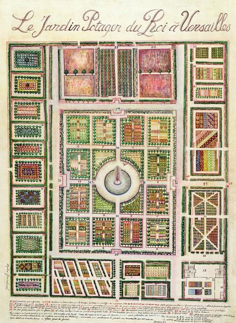 "Just in case you wondered: Here's a plan for the King of France's vegetable garden at Versailles (contemporary). You could say it is ""Fit for a King."""
