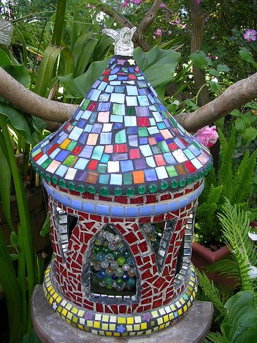 mosaic   How to make a mosaic birdhouse   Make Mine Mosaic This would make a gorgeous fairy home
