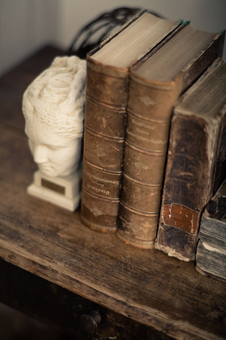 Rich old leather books on a worn wood shelf - Stylist, Rosy Strazzeri-Fridman