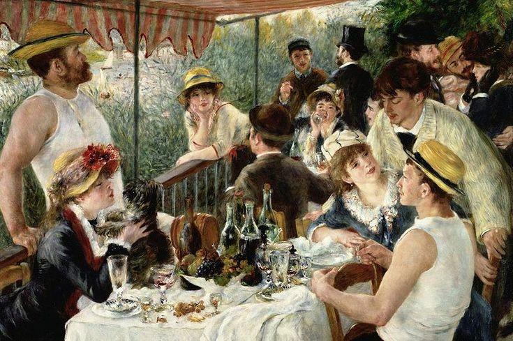 <뱃놀이 하는 사람들의 점심식사, 르누아르>  행복한 결혼식을 그려냈다. 신부는 귀여운 강아지에게 입맞춤을 하고 있는데 이 강아지는 남편을 상징한다. 검은 털은 신랑이 입고 있는 턱시도를 의미한다.