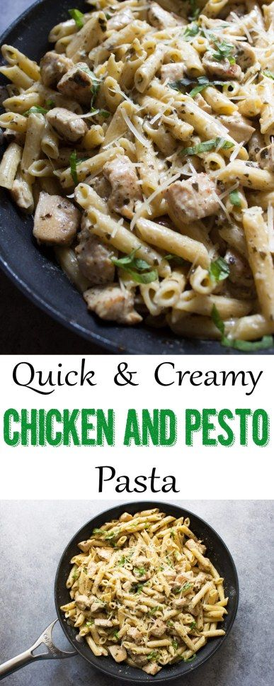 This creamy chicken and pesto pasta is such an easy meal for weeknights! | Easy meals | chicken recipe | pasta recipe