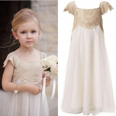 Vintage Flower Girl Dresses Champagne Lace Tulle First Communion Dresses Custom