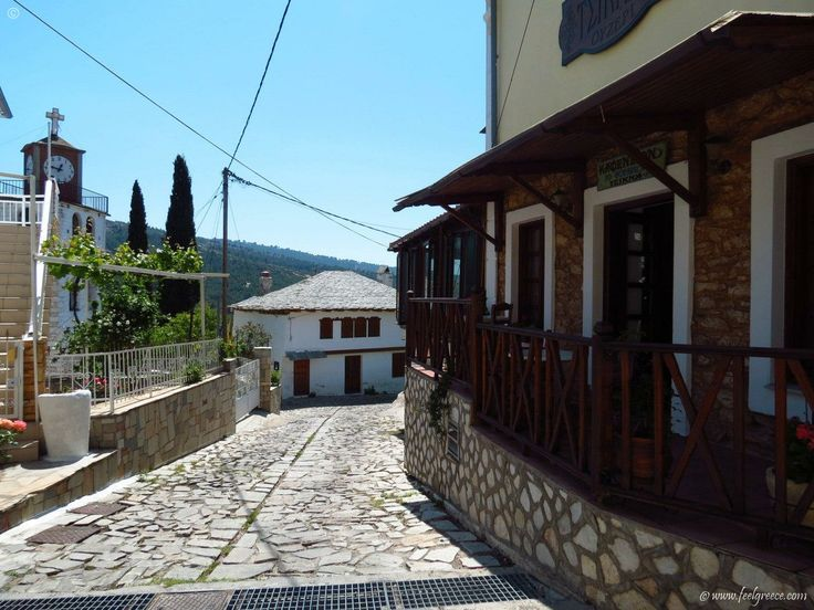 stone paved road in Theologos - old village with stone houses and traditional Greek cuisine - Thassos Island