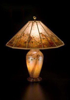 Ideal Lindsay Art Glass uDesert Tree u lamp with mica shade