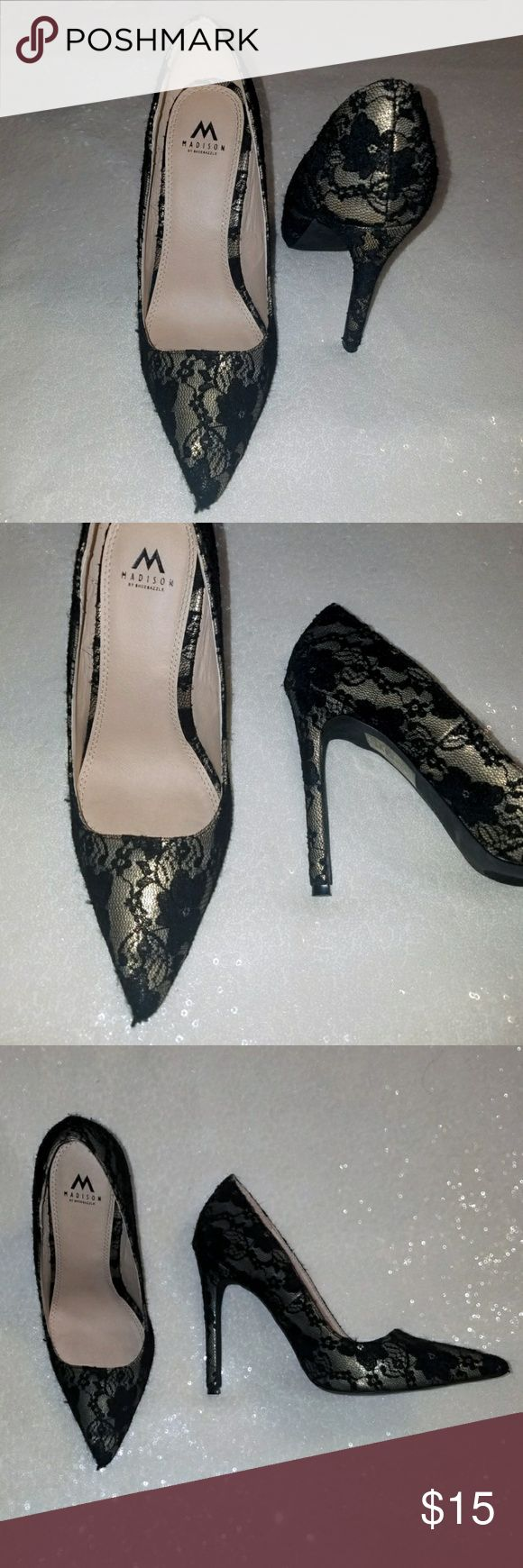 "NWOT, BLACK LEAVE 4.5"" heel! Perfect condition, black lace over gold heel. Shoe dazzle. 4.5"" Shoe Dazzle Shoes Heels"