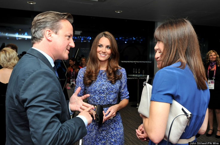 Kate speaks with Prime Minister David Cameron, his wife Samantha and Lord Coe at the closing ceremony of the 2012 London Olympic Games at the Olympic Stadium in London.