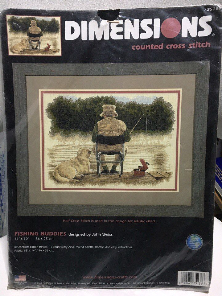 Cross Stitch Kit # 35136 NIP RARE. Fishing Buddies - Dimensions Counted. This is a great item to add to your cross stitch collection. This kit is RARE and hard to find. Kit contains: cotton threads, needle, 18 count ivory Aida .   eBay!