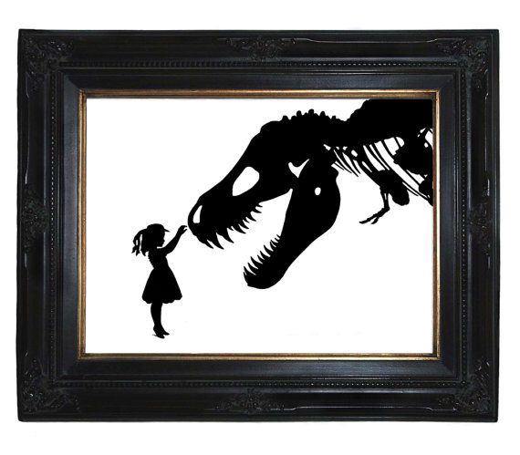 Silhouette Girl with T-Rex Dinosaur pet tyrannosaurus skeleton art print Victorian Steampunk Nursery