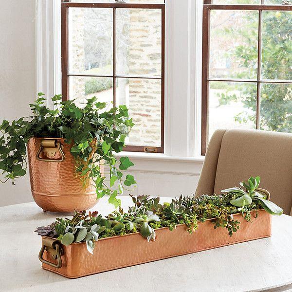 Ballard-Entwürfe hämmerten kupferne Pflanzer-Sammlung ($ 115) ❤ mochten auf Polyvore…