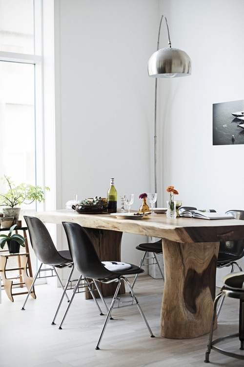 Fabulous Solid Wood Dining Table, with a bench on one side and chunky chairs on all other sides