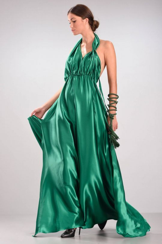C-THROU Exclusive Pre-Fall 2016-17 - Deep Open Back Silk Satin Maxi Gown