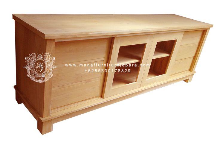 bufet tv minimalis jati, teak wood tv cabinet