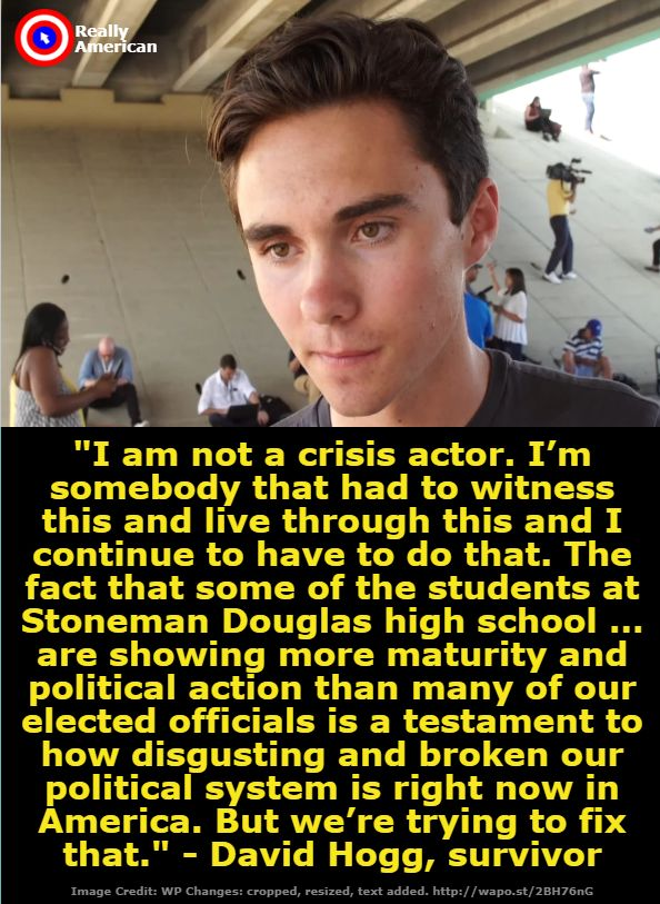 Stoneman Douglas students, David Hogg, go create history. Live the legacy of the woman after whom your school is named. Your lives or the Second Amendment.