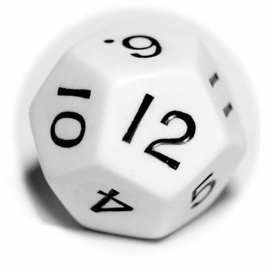Large 29mm 12-sided Dice (d12) - White