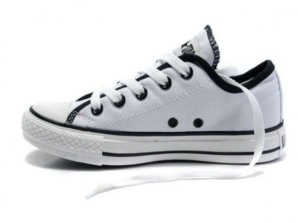 Converse All Star Black Rabbits Low Top White Canvas Shoes