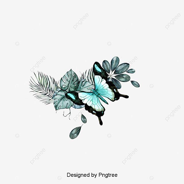 لينغ يان ق رسمت باليد تصميم الفراشة الزرقاء أوراق المواد فراشة لينغ يان أزرق Png وملف Psd للتحميل مجانا Flower Tattoo Blue Butterfly Cartoon Cat