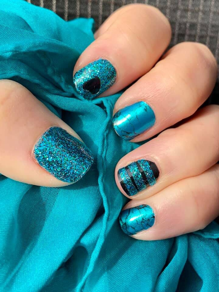 Amazing Diy Turquoise And Black Manicure Color Street Nails Manicure Nail Store