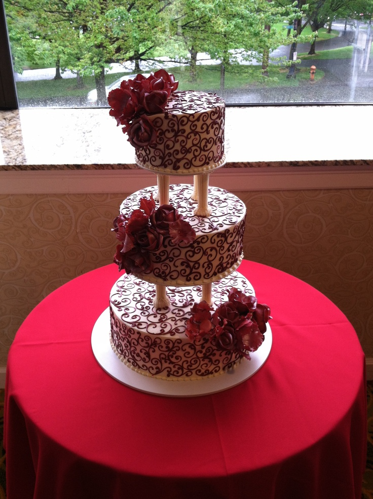 cha chas scroll cake with sugar paste flowers by
