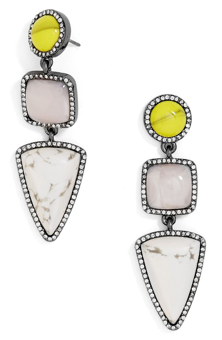 Marbled pendants in sparkling crystal settings make these drop earrings a dramatic vintage statement.