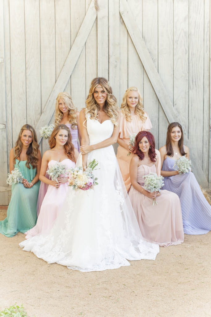 mix and match bridesmaid dresses in pastels