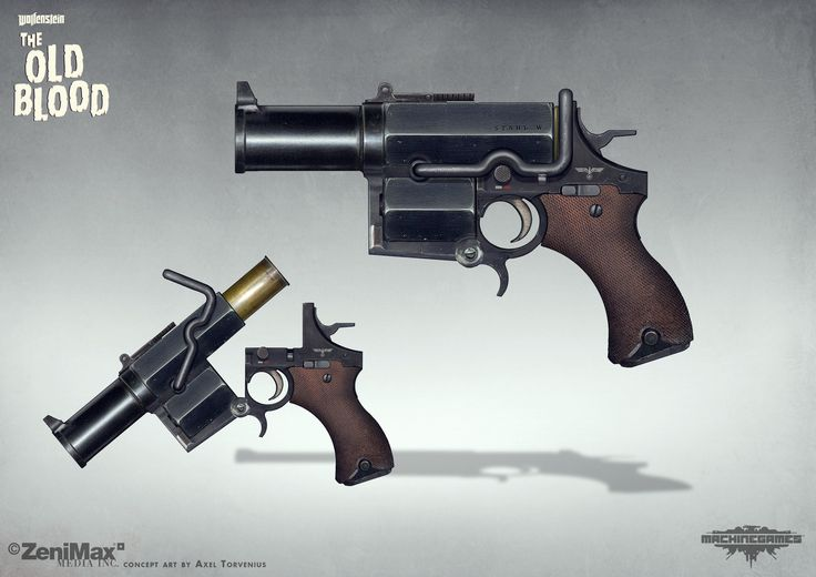 Concept art Wolfenstein The Old Blood - Kampfpistol, axel torvenius on ArtStation at https://www.artstation.com/artwork/X9xgD