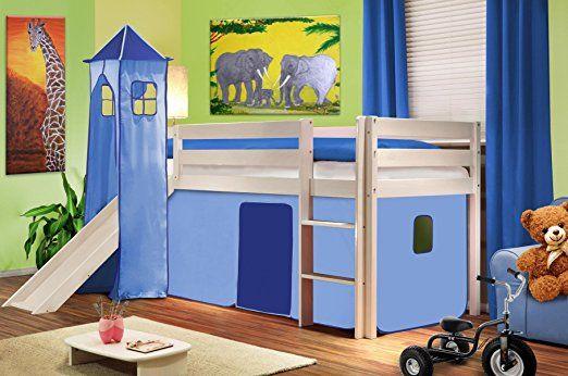 Cama alta de niños cama de juego con torre y tobogán pino maciza blanco - Azul claro - SHB/27/1032