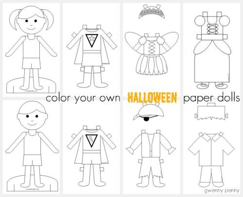 best paper dolls images paper puppets dolls and  gwenny penny printable color your own halloween paper dolls i love these as characters for stories in the writing center