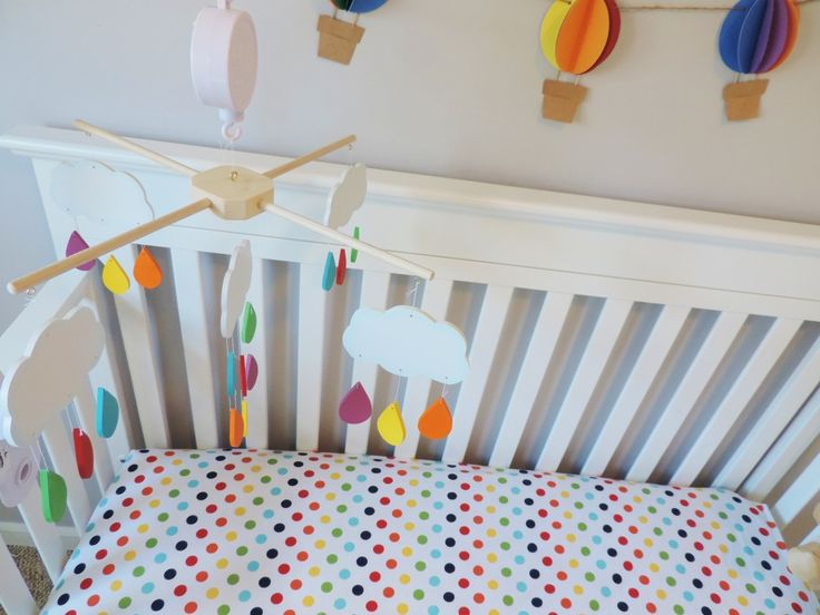 Clouds and Raindrops Mobile for #NurseryRainbows Room, Projects Nurseries, Rainbows Baby, Rainbows Nurseries, Rainbow Baby Nursery, Hot Air Balloons, Clouds Raindrop Mobiles, Baby Nurseries, Projectnursery Com