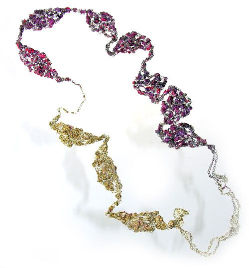 Liana Pattihis Necklace: Flow-Fileri Silver cable chain, enamel