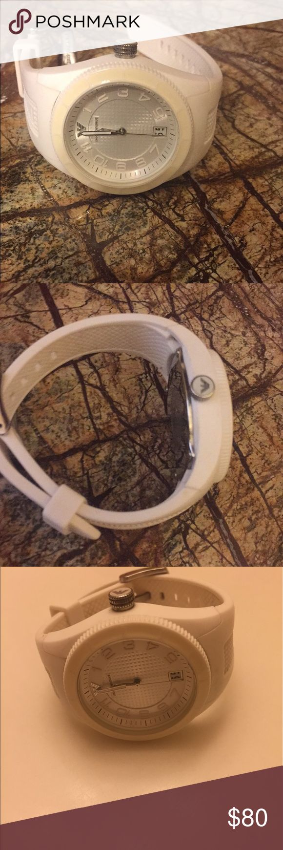 Emporio Armani AR1044 Women's watch⌚️ Emporio Armani AR1044 Women's Sport White Silicone. Great condition. Got it as a gift, worn only twice. Needs new battery (so Im deducting the battery price). Emporio Armani Accessories Watches