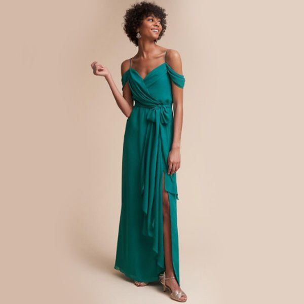 This elegant floor-length wrap dress is sure to be a bridesmaid pleaser. The comfortable chiffon and off-the-shoulder strap detail gives it a romantic feel that is sure to look stunning in pictures.