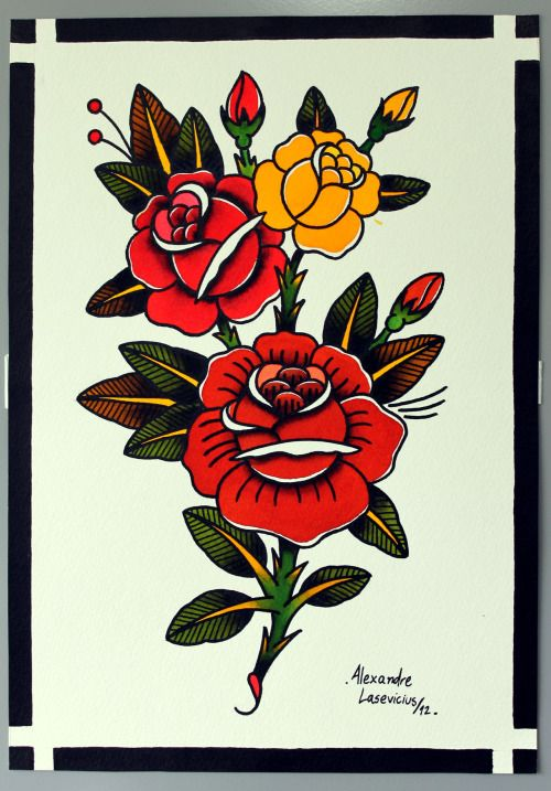 traditional rose tattoo on Tumblr