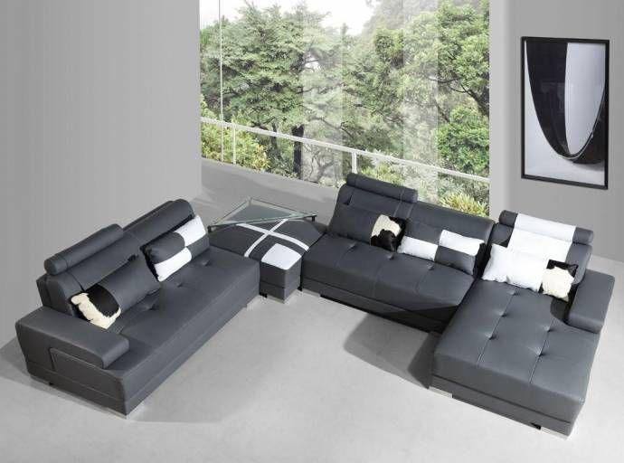 Grey Faux Leather Sectional Sofa Ottoman End Table Set 4 Vig Divani Casa Phantom Vgev Sp 5005gr Set 4 Rhc Faux Leather Sectional Leather Sectional Leather Sectional Sofas