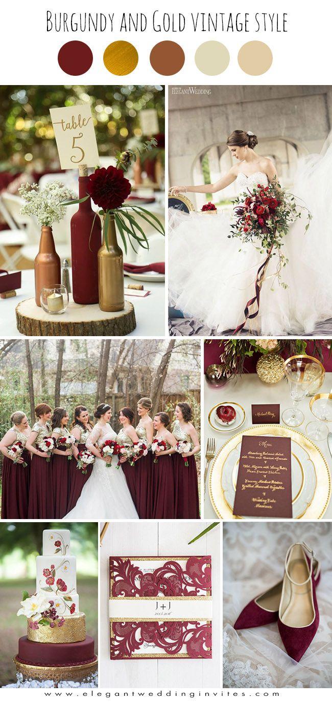 Burgund Und Gold Glamourose Vintage Hochzeit Farbideen 2018