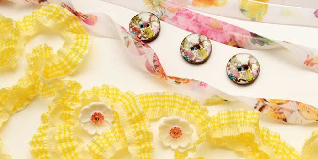 gingham trim and narcissus buttons from Bedecked Haberdashery