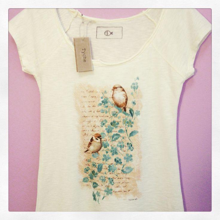 T-shirt stampa passerotti-lettera