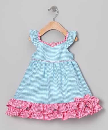 Love this Blue & Pink Gingham Ruffle Dress