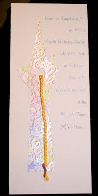 Rapunzel tower birthday invitations, towers can be bought at www.etsy.com/shop/danicad333