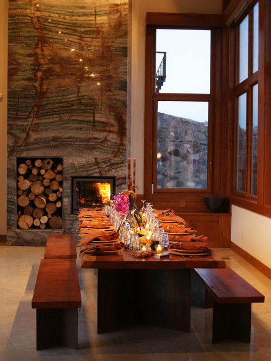 fireplace with built in log holder design pictures remodel decor and ideas granite fireplacestone fireplacesgranite slabfireplace - Stone Slab Dining Room Decorating