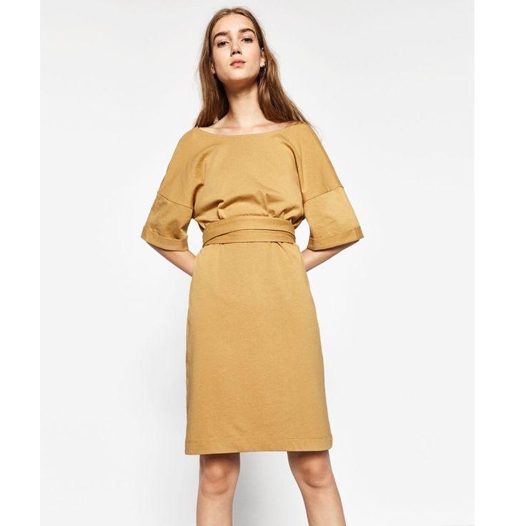 Zara Mustard Yellow Dress With Tie Waist