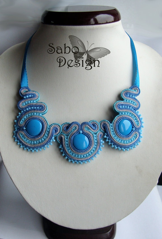 Statement necklace turquoise soutache necklace by SaboDesign, $89.00