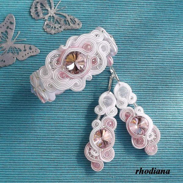 Rivoli Biel & Pudrowy Róż komplet ślubny sutasz w rhodiana na DaWanda.com
