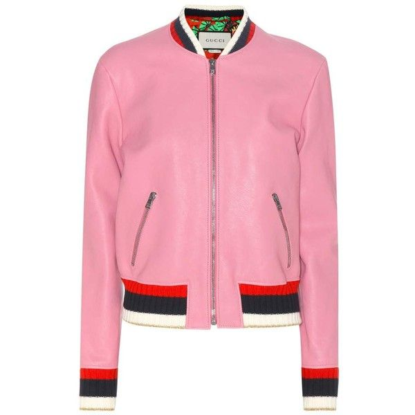 Gucci Leather Jacket (7 660 BGN) ❤ liked on Polyvore featuring outerwear, jackets, pink, gucci jacket, leather jackets, real leather jackets, genuine leather jackets and 100 leather jacket